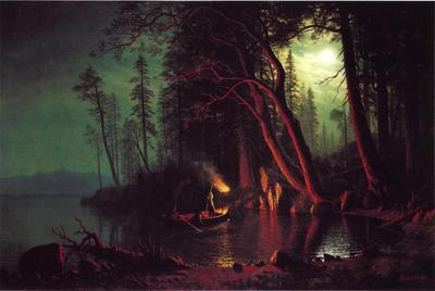Bierstadt Albert Lake Tahoe Spearing Fish by Torchlight