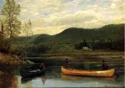 Bierstadt Albert Men in Two Canoes