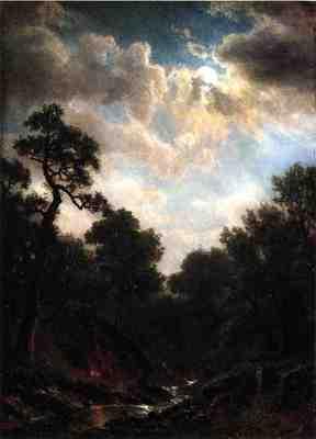 Bierstadt Albert Moonlit Landscape