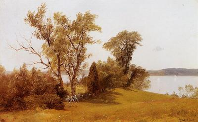 Bierstadt Albert Sailboats on the Hudson at Irvington