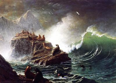 Bierstadt Albert Seals on the Rocks Farallon Islands