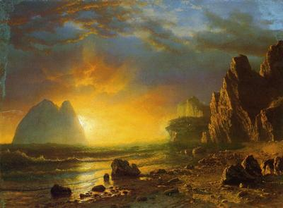 Bierstadt Albert Sunset on the Coast