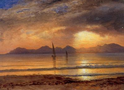 Bierstadt Albert Sunset over a Mountain Lake