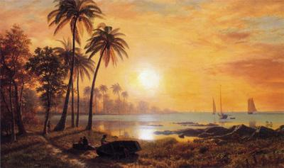 Bierstadt Albert Tropical Landscape with Fishing Boats in Bay