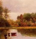 Bierstadt Albert Cows Watering in a Landscape