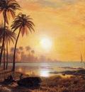 Bierstadt Albert Tropical Landscape with Fishing Boats in Bay