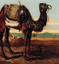 Decamps Alexandre Gabriel A Bedouin And A Camel Resting In A Desert Landscape