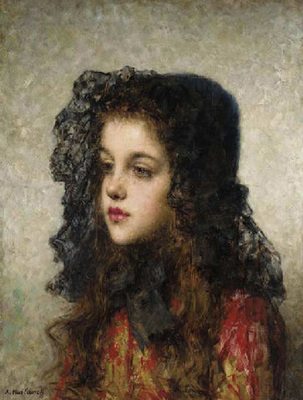 Harlamoff Alexei Little Girl with Veil