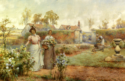 Glendening Alfred Augustus A Lady And Her Maid Picking Chrysanthemums