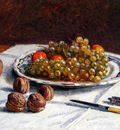 Sisley Alfred Grapes And Walnuts On A Table