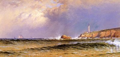 Bricher Alfred Thompson Coastal Scene with Lighthouse