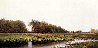 Bricher Alfred Thompson Hunter in the Meadows of Old Newburyport Massachusetts