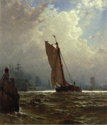 Bricher Alfred Thompson New York Harbor with the Brooklyn Bridge Under Construction