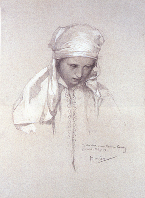 alphonse mucha portrait of a girl