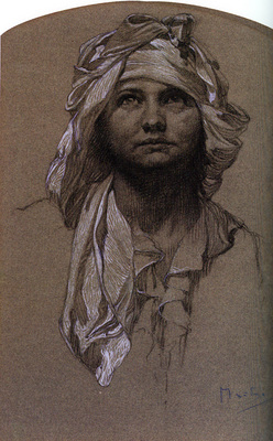 Mucha Alphonse Head of a Girl