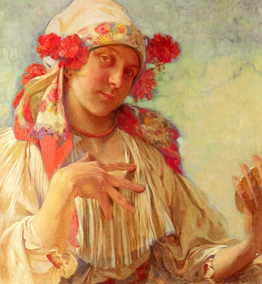 Mucha Alphonse Maria Young Girl In A Moravian Costume