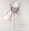 mucha alphonse portrait of a girl