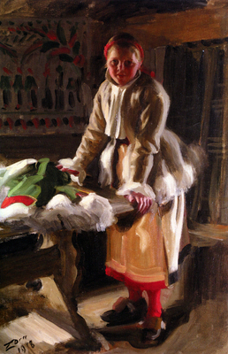 Anders Zorn Morakulla I Vinterdrakt A Girl from Mora in W