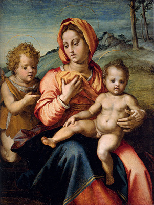 Sarto Andrea Del Madonna And Child With The Infant Saint John In A Landscape