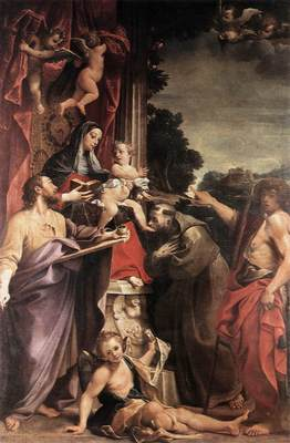 Carracci Annibale Madonna Enthroned with St Matthew