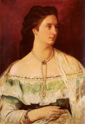 Feuerbach Anselm Portrait Of A Lady Wearing A Pearl Necklace