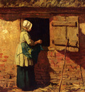 Mauve Anton A Peasant Woman By A Barn