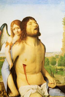 Messina Antonello da The Dead Christ Supported By An Angel