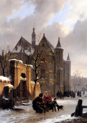 Hove Bartholomeus Johannes Van A Capricio View With Figures Leaving A Church In Winter