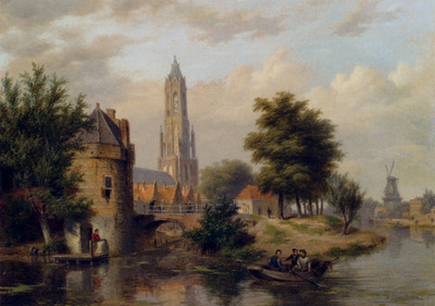 Hove Bartholomeus Johannes Van View Of A Riverside Dutch Town