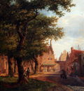 Hove Bartholomeus Johannes Van A Village Square With Villagers Conversing Under Trees