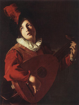 MANFREDI Bartolomeo Lute Playing Young