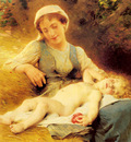 Perrault Leon Jean basile A Mother With Her Sleeping Child