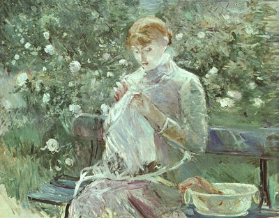 Young Woman Sewing in a Garden CGF