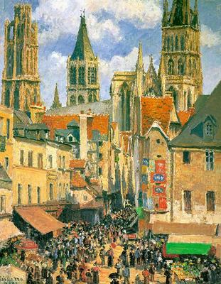 pissarro the old market at rouen