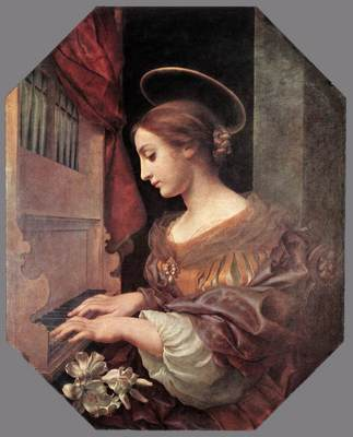 DOLCI Carlo St Cecilia at the Organ