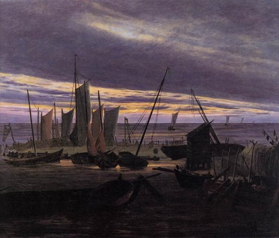 FRIEDRICH Caspar David Boats In The Harbour At Evening