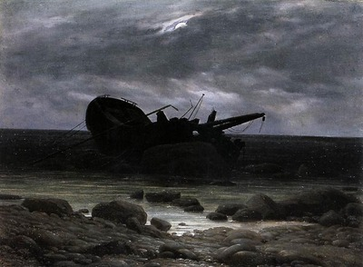 FRIEDRICH Caspar David Wreck In The Moonlight
