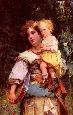 Detti Cesare Auguste Gypsy Woman And Child
