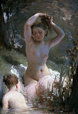 chaplin charles two girls bathing