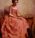 chaplin charles girl in a pink dress reading with a dog