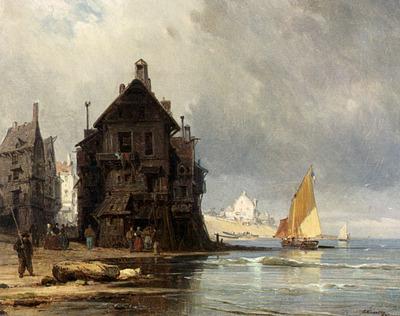 Kuwasseg Charles Euphrasie A Coastal Scene In Normandy