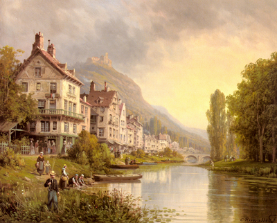 Kuwasseg Charles Euphrasie Au Bord De La Riviere