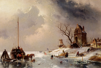 Leickert Charles Figures Loading A Horse Drawn Cart On The Ice