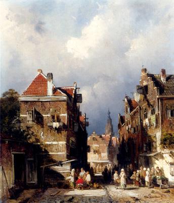 Leickert Charles Henri Joseph A Dutch Street Scene