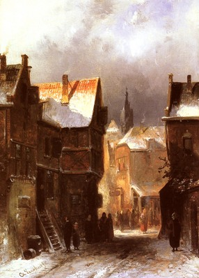 Leickert Charles Henri Joseph A Dutch Town In Winter