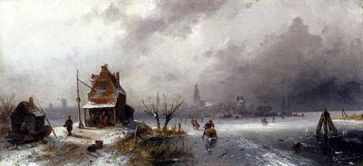 Leickert Charles Henri Joseph Figures On A Frozen Lake