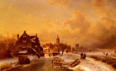 leickert charles henri joseph winter and summer canal scenes scene