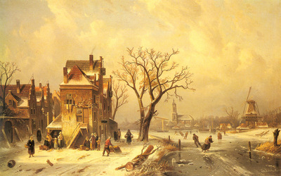 Leickert Charles Skaters In A Frozen Winter Landscape
