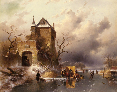 Leickert Charles Skaters On A Frozen Lake By The Ruins Of A Castle
