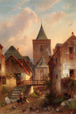 Leickert Charles View In A German Village With Washerwomen